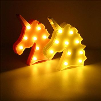 Cute Unicorn LED Night Light Wall Battery Lamp Baby Kids Bedroom Living Room Home Decor