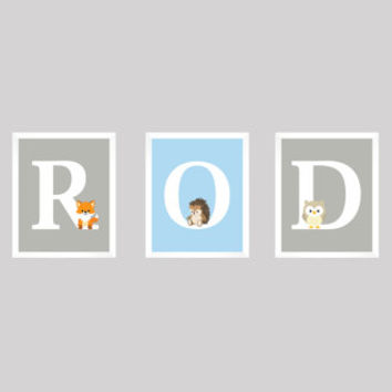 Personalized Nursery Letters, Custom Decor Prints, Woodland Animals in Gray and Blue, Name Prints, Custom Name Art, Nursery Decor, 8x10