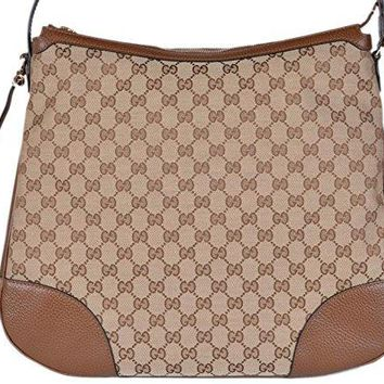 Gucci Women's Large Bree Canvas Leather Hobo Handbag (Beige/Brown)