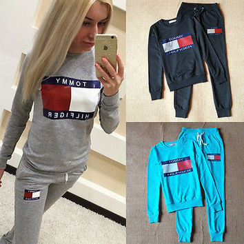 2016 Fashion Women Sportswear Autumn Winter Printed Letter Tracksuits Long-sleeve Casual Sport Suit Costumes Mujer 2 Piece Set