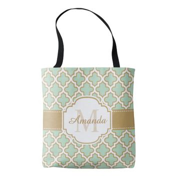 Moroccan Quatrefoil Pattern Gold Mint Monogram Tote Bag