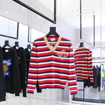 Gucci Cashmere Striped V neck Sweater for Women 007