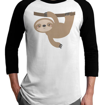 Cute Hanging Sloth Adult Raglan Shirt