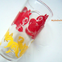Vintage Squirrel Juice Drinking Glass 1960s
