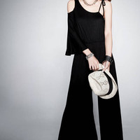Mystery Black Cutoff Shouler Flouncing Layer Strap Wide Legs Pants Jumpsuit