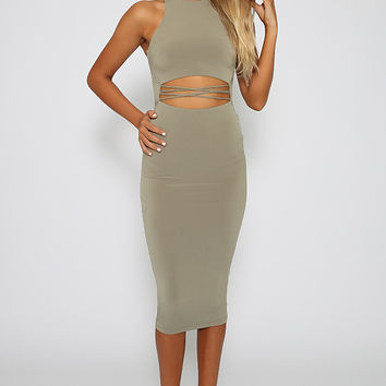 Nookie - Mi Amore High Neck Shift Dress - Khaki