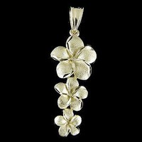 SOLID 14K YELLOW GOLD HAWAIIAN 3 PLUMERIA FLOWER DANGLING PENDANT CHARM