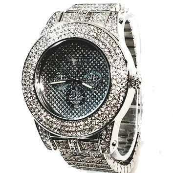 Techno King Mens XXL Silver Finish Lab Diamonds Mens Dress Watch Silver Face Watch Metal Band Bling