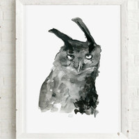Owl watercolor and ink painting - Art print - Eagle Owl drawing - black ink zen brush painting- sumi e  Animal painting - owl illustration
