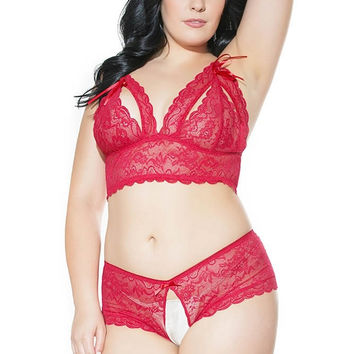 Romantic Red Peek-a-Boo Bra Set in OSXL