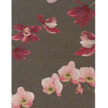 Pink Orchids Grey French Table Runner