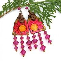 Fuchsia Flower Chandelier Earrings, Swarovski Boho Handmade Jewelry