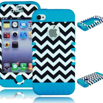 iPhone 4, 4S, 4th Gen Hybrid Chevron  Case + Sky Blue Silicone Cover