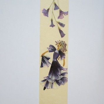 "Handmade unique bookmarks ""The rhythm of bells"" - Decorated with dried pressed flowers and herbs - Original art collage."
