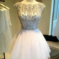 Custom Made Round Neck Short Prom Dress, Short Homecoming/Graduation Dress