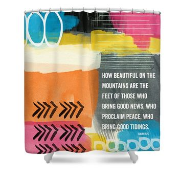 Beautiful On The Mountains- Contemporary Christian Art by Linda Shower Curtain