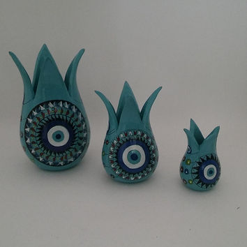 "Turquoise Evil Eye Tulip Decor Set,Sizes : 5.90"" - 4.33"" - 2.75"" , Mothers Day Gift , Fast Free Shipping"