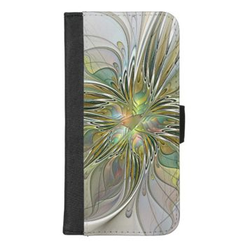 Floral Fantasy Modern Fractal Art Flower With Gold iPhone 8/7 Plus Wallet Case