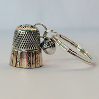 Peter Pan Thimble and Acorn Hidden Kisses Key Ring Solid Sterling Silver Peter Pan and Wendy