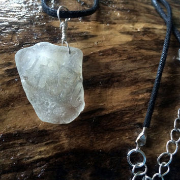 Embossed Sea Glass Pendant Pepsi Cola Beach Glass Necklace Seaglass Art Eco Friendly Upcycled Lake Erie