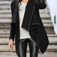 Black Wrap Asymmetrical Coat Trendy Black Jacket