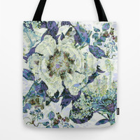floral in blue Tote Bag by Clemm