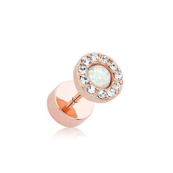 Rose Gold Opal Elegance Multi-Gem WildKlass Faux Plug