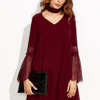 Burgundy Choker Style Lace Bell Sleeve Dress