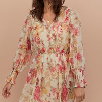 V-neck Chiffon Dress - Beige/floral - Ladies | H&M US