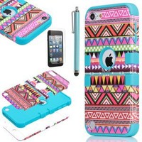 iPod Touch 5 case,ULAK® Hybrid Pink Hard Aztec Tribal Pattern + Blue Silicon Case Cover For Apple iPod Touch (Generation 5) +Screen Protector +Stylus