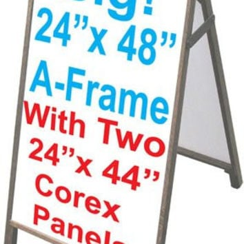 "Wood A-Frame 24""x48"" Double Sided Sidewalk Signs w/Coroplast Panels"