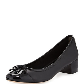Sarina Leather Cap-Toe Pump, Black - Cole Haan