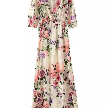 Multi Colored V-Neckline Floral Maxi Dress