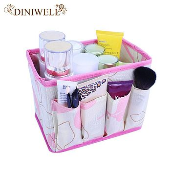 Large Capacity Foldable Make Up Cosmetics Storage Box Container Bag Dresser Desktop Cosmetic Makeup Organizer