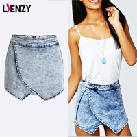 Hot Summer Women's Individuality Culottes European Style Irregular Cool Denim Shorts Skirts 2016 New