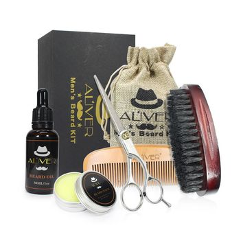 Men's Beard Fluid+Beard Wax+Comb+Brush+Scissors Strength Nourish Combination