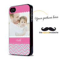 PHOTO CASE - Custom iPhone 4 Case iPhone 5 Case - Chevron in Pink and Grey - iphone 4 cover iphone 5 cover