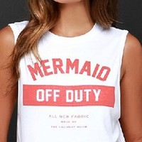 White Red Sleeveless Crew Neck Mermaid Off Duty Graphic Crop Tee Shirt Tank Top