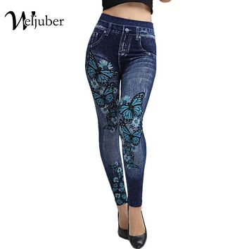 Flower Jeans Leggings Yoga Gym Fitness Athleisure Workout Running Zumba, Blue