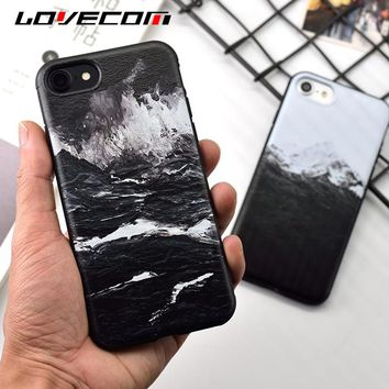 LOVECOM Retro Sea waves Snow Mountains Soft TPU Back Cover Coque Cases For iPhone 6 6S 7 8 Plus Mobile Phone Case Shells  Fundas