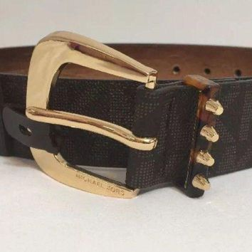 CREYRQ5 MICHAEL KORS BELT BROWN MK LOGO PRINT WITH GOLD BUCKLE WITH STUDDED LOOP