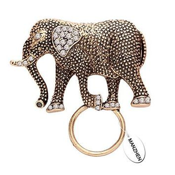 MANZHEN Natural Elephant Magnetic Eyeglass Holder Crystal Brooches for Shirt
