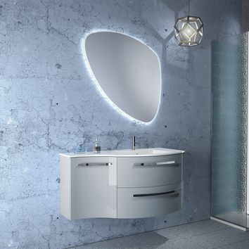 Ambra 43 in. Wall Mounted Bathroom Vanity Left Concave Cabinet Set Bath Furniture