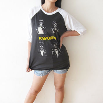 RAMONES Johnny Joey ramones Skull Punk Rock T-Shirt Baseball Tee Shirt Raglan Long Sleeve Shirts Size M