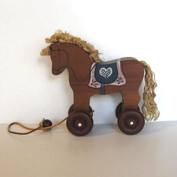 Wooden Horse pull toy, Vintage Toy, Primitive Folk Art, Nursery Decor, Country, Home and LIving
