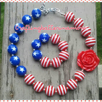 4th of July Girls Necklace - Baby Girl Fourth of July Necklace Bracelet Set - Flag Necklace - Bubblegum Necklace Prop - Toddler 4th of July