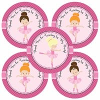 Ballerina Thank You Stickers - Birthday Party Favor Labels - Set of 30