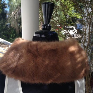 Mink Fur Stole, Brown Fur Collar, Genuine Fur Shawl