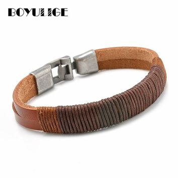 BOYULIGE Men Jewelry Punk Stainless Steel Hooks Bracelet Woman Bangle Survival Rope Braided Leather Chain Navigation Homme Cool