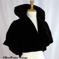 Exquisite Antique Black Velvet Caplet